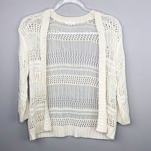 Cream Open Crochet Cardigan Cover- Up